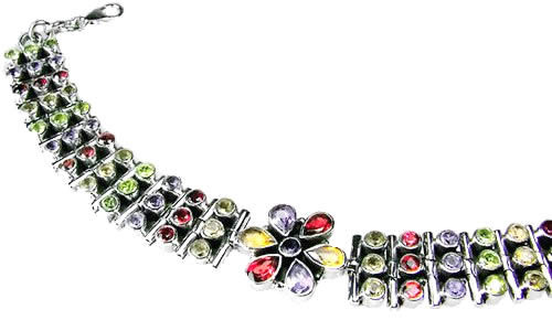 Faceted Amethyst, Garnet, Citrine And Peridot Bracelet