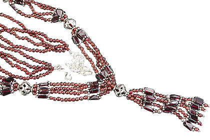 Red Garnet Beaded Ethnic Necklaces 15 Inches