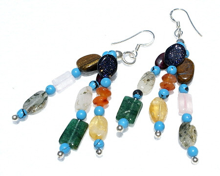 Blue Multi-color Multi-stone Beaded Multistrand Earrings 2.5 Inches