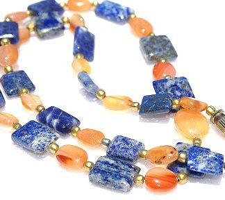 Blue Orange Carnelian Lapis Lazuli Beaded Necklaces 17 Inches