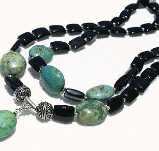Black Green Agate Black Onyx Silver Setting Multistrand Necklaces 18 Inches