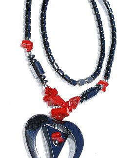 Chipped, Contemporary, Heart, Tribal Hematite Necklaces