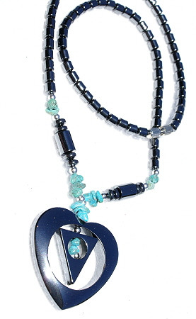 Chipped, Contemporary, Heart, Tribal Hematite Necklaces 2