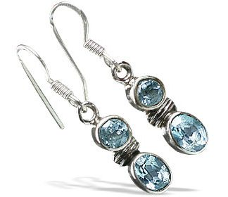 Blue Blue Topaz Silver Setting Earrings 0.5 Inches