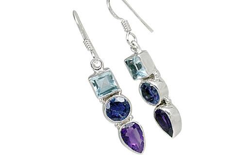 Blue Purple Multi-stone Blue Topaz Silver Setting Contemporary Earrings 1 Inches