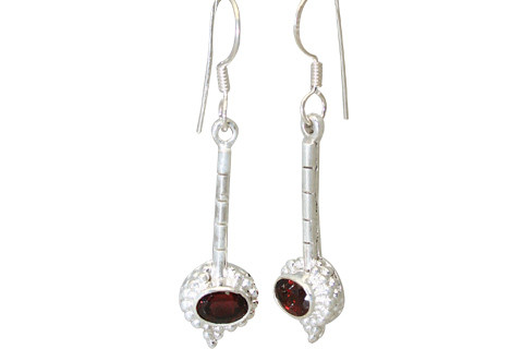 Red White Garnet Silver Setting Earrings 1.25 Inches
