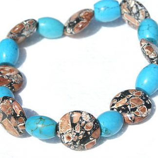 Black Blue Brown Magnesite Beaded Anklets 10 Inches