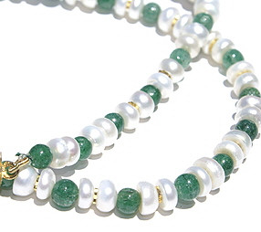 Green White Aventurine Pearl Beaded Simple-strand Necklaces 17 Inches
