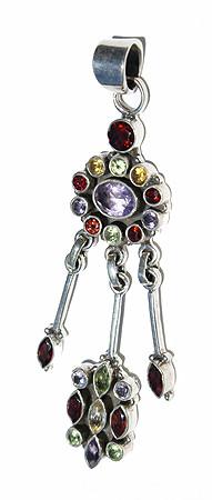 Purple Multi-stone Amethyst Silver Setting Pendants 3 Inches