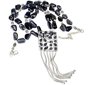 Blue Iolite Beaded Multistrand Necklaces 15 Inches
