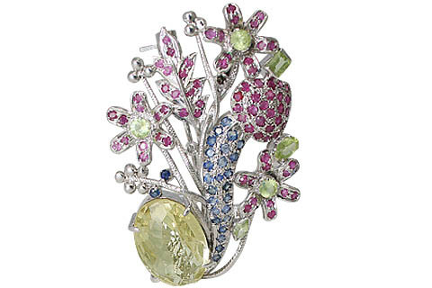 Blue Green Pink Multi-stone Lemon Quartz Silver Setting Flower Brooches 2.5 Inches
