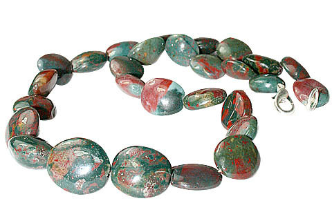 Green Red Bloodstone Beaded Christmas Necklaces 16 Inches