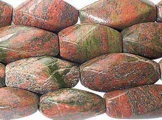Green Red Unakite Beaded Faceted Beads 16.5 Inches
