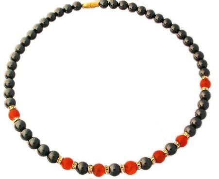 Hematite, Carnelian And Cz Necklace