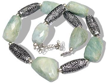 Green Aquamarine Beaded Ethnic Necklaces 15 Inches