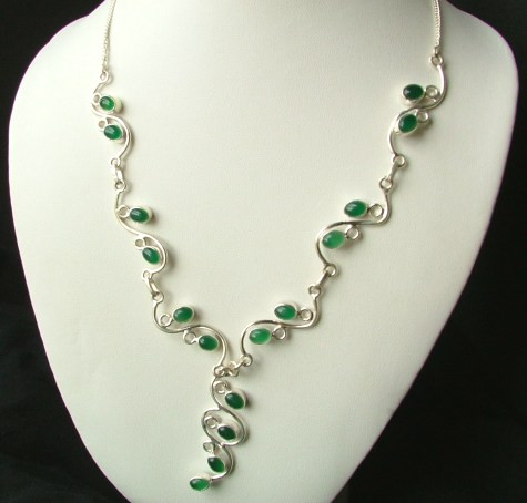 ONYX SILVER SETTING GREEN DROP NECKLACES