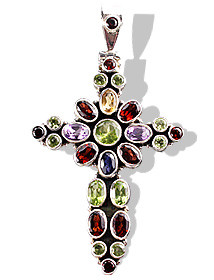 Multistone Silver Cross Pendant With Amethyst, Garnet, Peridot, And Iolite