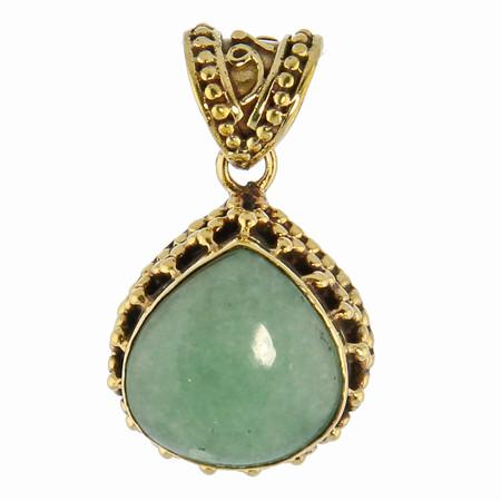 Brass Amazonite Drop Pendant