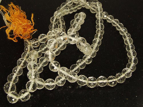 White Crystal Quartz Beaded Rosary Necklaces 24 Inches