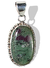Black Green Red Zosite Silver Setting American-southwest Pendants 1.5 Inches