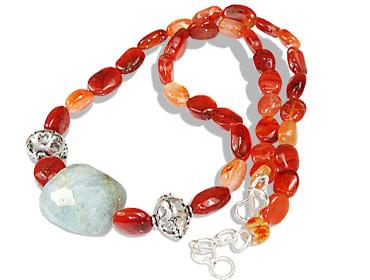 Carnelian And Aquamarine Necklace