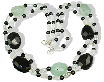 Twin-strand Necklace Of Black Jasper And Crystal Beads With Black And Blue Onyx Tumbles
