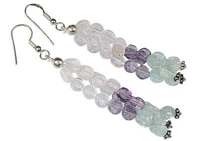 Blue Pink Purple Multi-stone Rose Quartz Bali Silver Beaded Multistrand Earrings 2 Inches