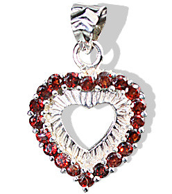 Red Garnet Silver Setting Heart Pendants 1 Inches