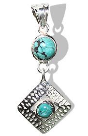 Turquoise Silver Diamond Pendant