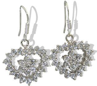 Sterling Silver White Topaz Heart Earrings
