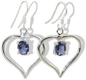 Heart Iolite Earrings 2