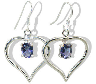 Heart Iolite Earrings 2