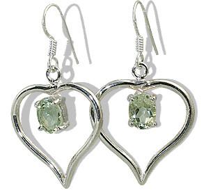 Heart Green Amethyst Earrings