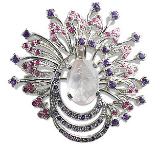 Faceted Rose Quartz Brooch With Rubies And Amethyst