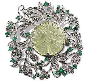 Lemon Quartz Flower Brooch With Emeralds And Cz