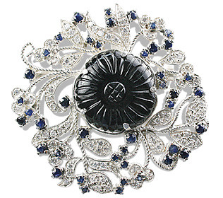 Onyx Flower Brooch With Sapphires And Cz