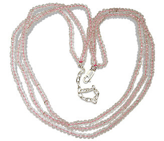 Pink Rose Quartz Beaded Multistrand Necklaces 16 Inches
