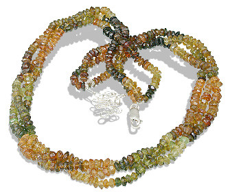Multi-color Tourmaline Beaded Multistrand Necklaces 16 Inches