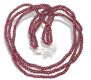 Red Ruby Beaded Multistrand Necklaces 16 Inches