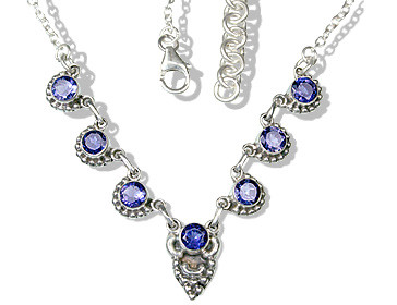 Blue Iolite Silver Setting Brides-maids Necklaces 19 Inches