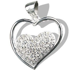 Heart White Topaz Pendants