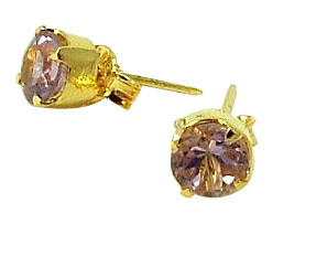 Faceted Amethyst Gold Plated Studs
