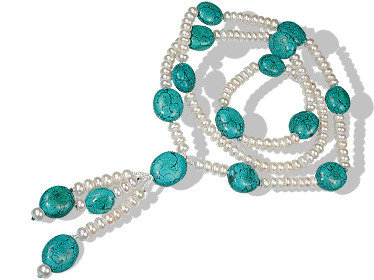 Green White Pearl Turquoise Beaded Brides-maids Necklaces 32 Inches