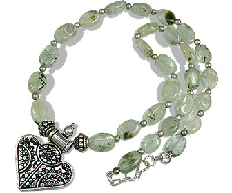 Green Prehnite Bali Silver Beaded Pendant Necklaces 18.5 Inches