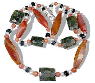 Orange Multi-color Carnelian Labradorite Beaded Chunky Necklaces 37 Inches
