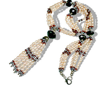 Gray Red Pearl Garnet Bali Silver Beaded Wedding Necklaces 25 Inches