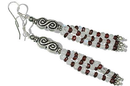 Garnet And Moonstone Earrings