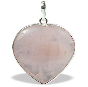 ROSE QUARTZ SILVER SETTING PINK HEART PENDANTS