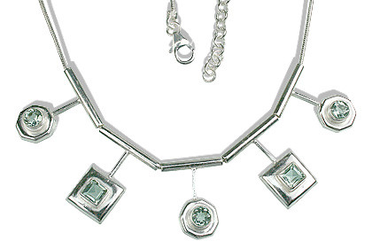 Green Green Amethyst Silver Setting Necklaces 16 Inches