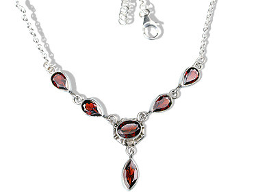 Red Garnet Silver Setting Necklaces 15 Inches